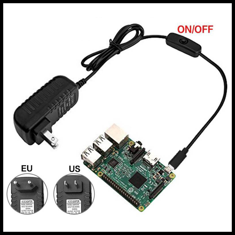 Durable USB Charger 5V 3A Micro USB Power Supply Charger Adapter On / off Switch US/EU Plug for Raspberry Pi 3