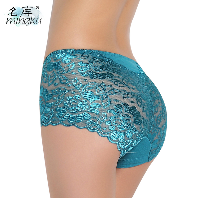 Sexy transparent lace seamless plus size mid waist panty