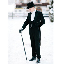 Fashionable men's suit Black Tailcoat Groom Wedding Tuxedos Groomsmen Mens Suit Bridegroom 3 Piece