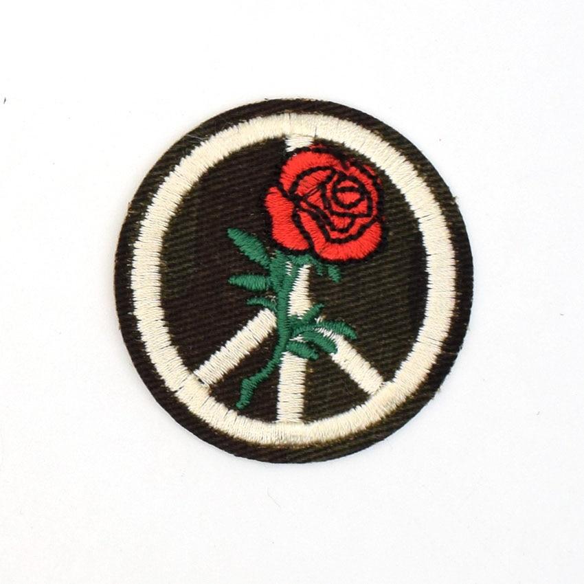 2 Stks Rose Bloem Bloemen Patches Peace Sign Hippie Boho Retro Fower Power Liefde Hippy Applique Iron On Patch Kids Kleding Decor