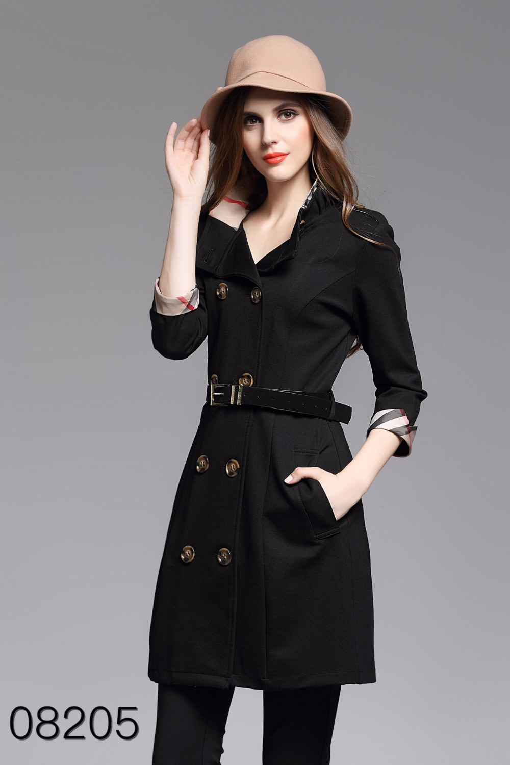 1e5529c7b84f7 2018 New Roman cloth British Style Patchwork Double Breasted Windbreaker  Spring Fall Slim Women Trench Coat Casual Plaid Autumn-in Trench from  Women s ...
