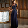 Nevy blue lace evening dresses with short sleeves to see through top chiffon long dress night freight free personalized