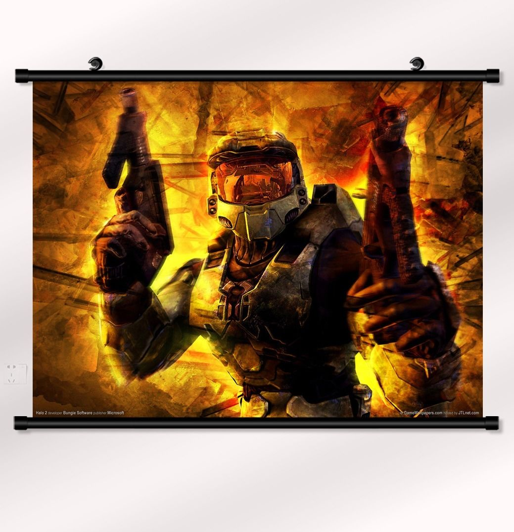 "Halo <font><b>1</b></font> <font><b>2</b></font> 3 <font><b>4</b></font> Game Fabric poster with wall scroll <font><b>22</b></font>"" <font><b>x</b></font> <font><b>16</b></font>"" Decor 3-60"