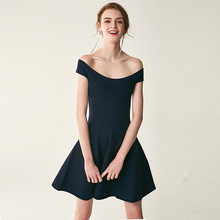 Summer Senior sleeveless shoulder elegance lady knee and dress One-shouldered knit
