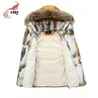 Natural Rabbit Fur Liner Woman Man Couple Down Parkas 2017 New Fur Hooded Thick Cotton Coat