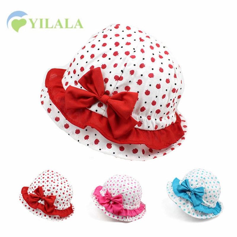 Bowknot Baby Girls Hat Lunares Sombrero de Verano Apple Print Kids - Ropa de bebé