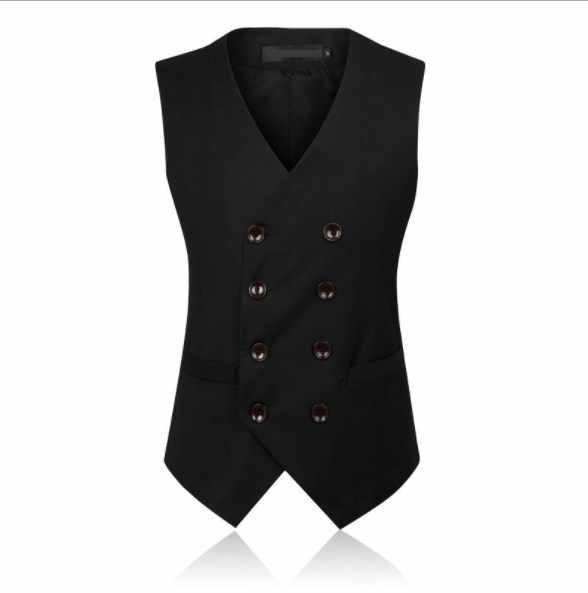 Mens Slim Fit Vest voor Mannen Double Breasted Blazer Pak Vest Casual mannen Formele Vest Zwart Grijs Mouwloos jas