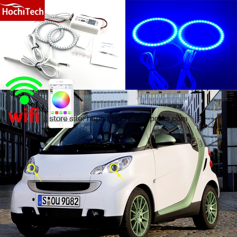 HochiTech Excellent RGB Multi-Color halo rings kit car styling for Smart Fortwo W451 Mk2 2008-14 angel eyes wifi remote control hochitech rgb multi color halo rings kit car styling for bmw 3 series e90 05 08 halogen headlight angel eyes wifi remote control