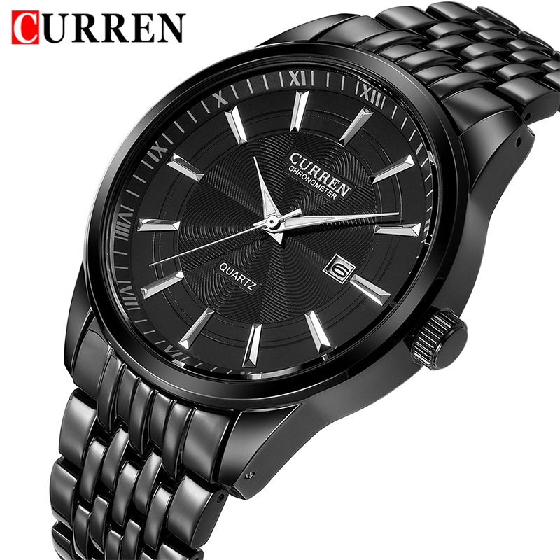 2018 CURREN Luxury Men Watches Men's Fashion Stainless Steel Quartz Watch Male Business Date Analog Clock Gift Relogio Masculino