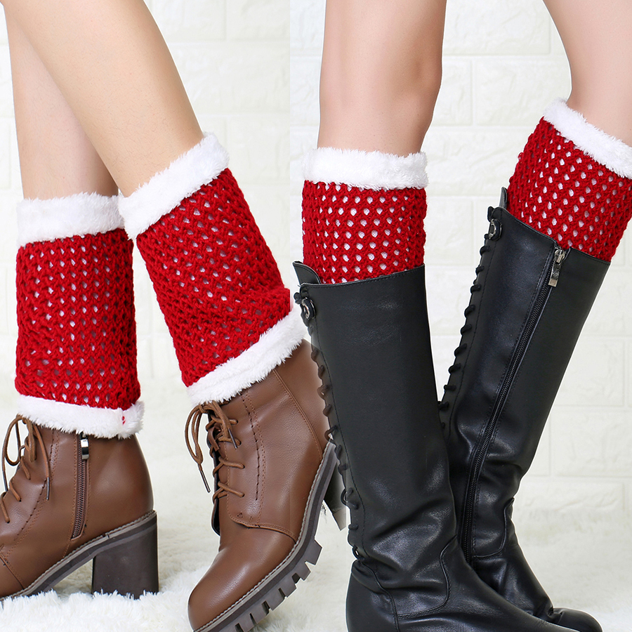 Women Christmas Knitted Short Leg Warmers Knee Stockings Lady Girl Winter Warm Soft Knee Sleeve Female Cuffs Boot Socks WK013