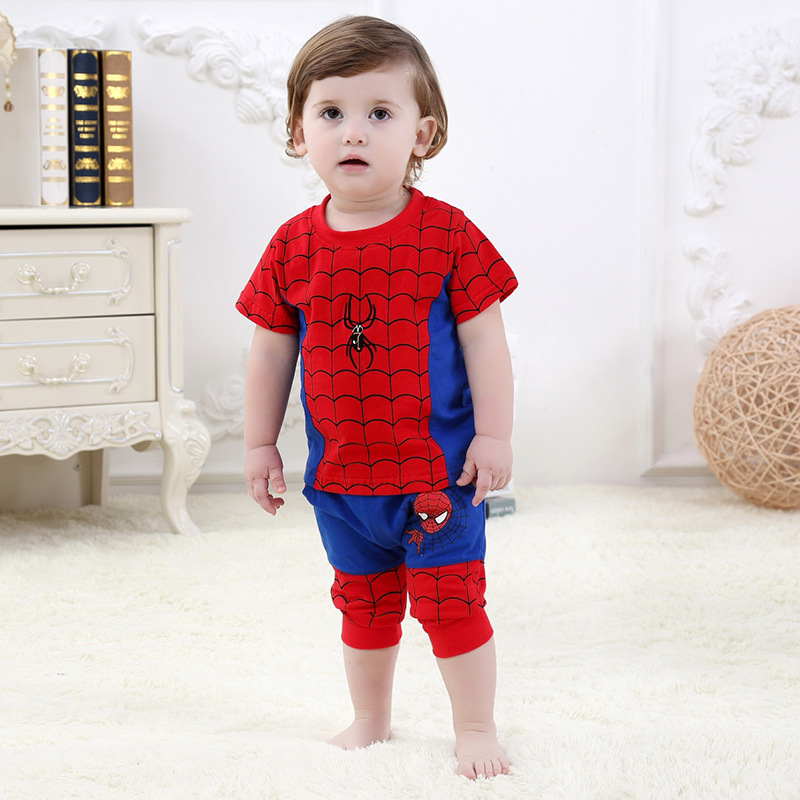 Cute Cartoon Spider Cosplay Baby Clothes Set 0-24 Monthes Newborn Boys Girls Infant Design Summer Short Sleeve Pure Cotton