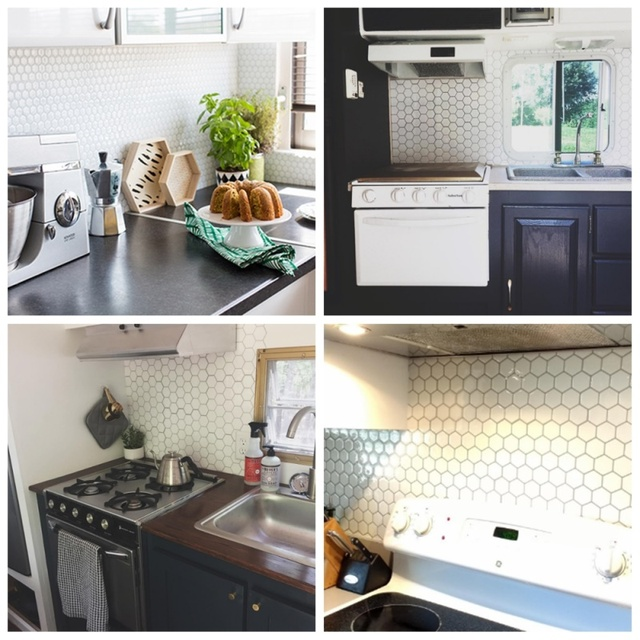 Hexagon Off White Vinyl Sticker Self Adhesive Wallpaper 3D Peel and Stick Square Wall Tiles for Kitchen and Bathroom Backsplash 5