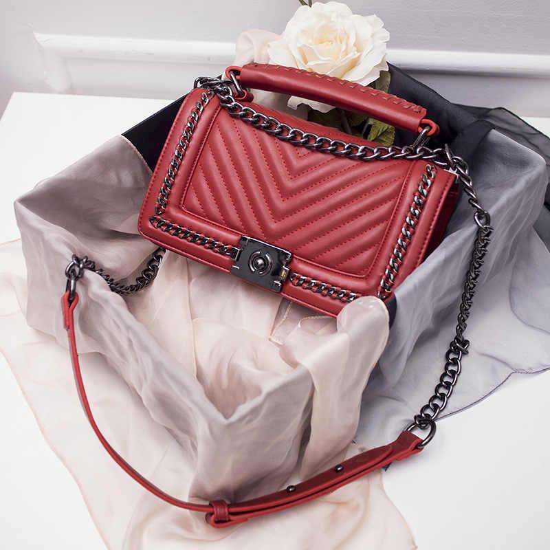 2019 Klasik Crossbody Çanta Kadınlar Lüks Deri Küçük Zincirler Çanta Bolsos Mujer Tasarımcı Ünlü Marka Bayanlar omuzdan askili çanta