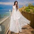 Богемский Платье 2016 Новый Летняя Мода Пляж Стиль Sexy V-образным Вырезом Без Рукавов Цветок Вышивка Принцесса Белый Длинное Платье