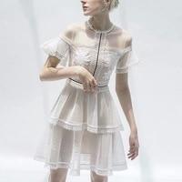 High end Custom 2019 Summer New Sweet Gentle Pure White Simple Temperament Thin Fairy Dress Hollow Out A Line Dress Women