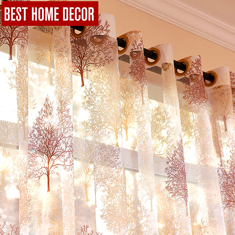 Best home decor finished sheer window curtains for living room the bedroom modern burnout tulle treatment blinds