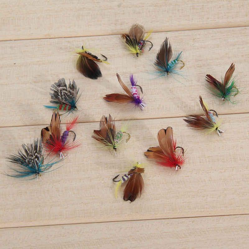 12 Stks/set Insecten Vliegt Vliegvissen Kunstaas Aas Hoge Carbon Stalen Haak Fish Tackle Met Super Geslepen Crank Haak Perfect decoy