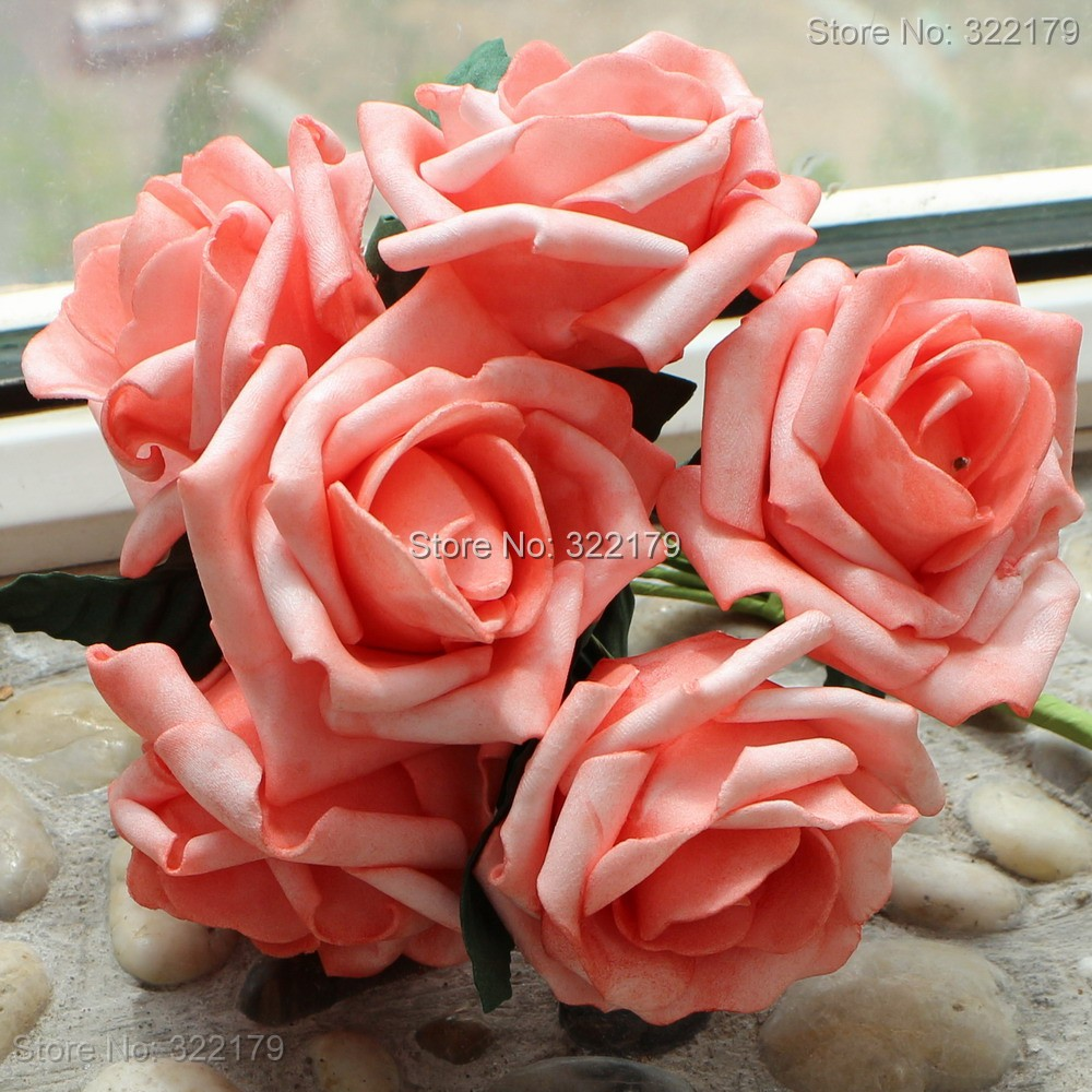 Aliexpress buy 100x fake flowers white foam roses bridal free shipping coral artificial flowers 72pcs bridal flowers floral wedding bouquet decorative decor coral wedding centerpiece izmirmasajfo Gallery
