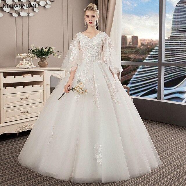 2019 Appliques Wedding Dresses Hot Sale Elegant Princess Adjust Lace Three  Quarter Sleeve Bridal Gowns Vestidos De Noiva 648d1d3d4ae0
