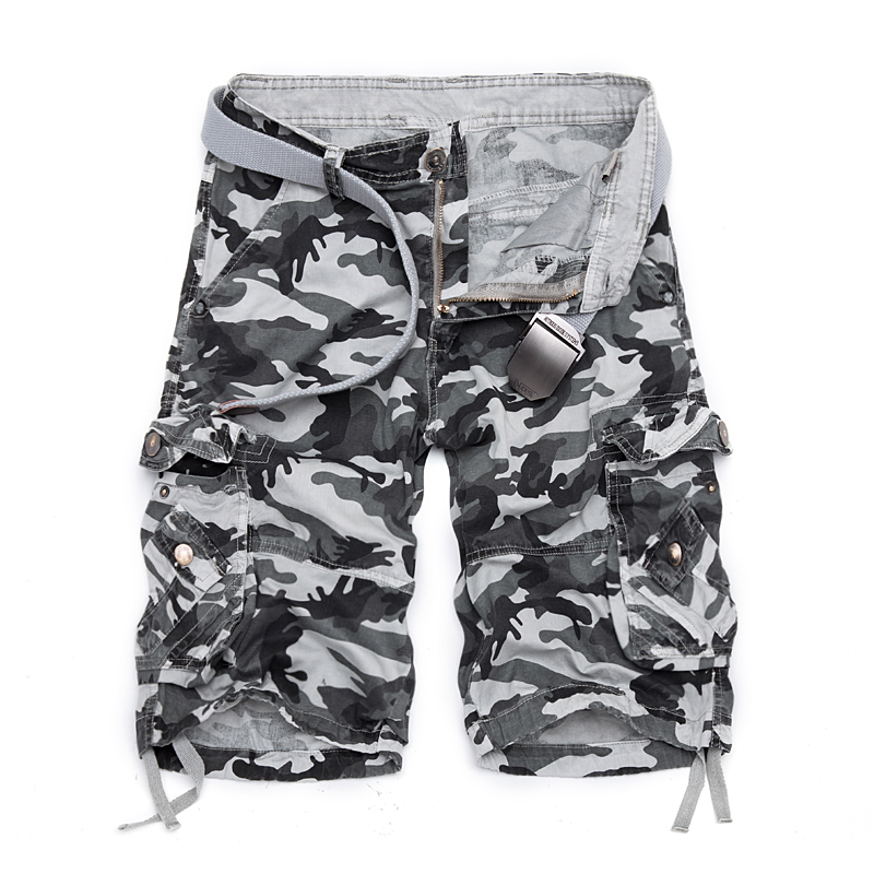 Mens Cotton Cargo Shorts with Multi Pockets Big & Tall Loose Fit Camo Military Summer Fashion Male Army Twill Combat shorts men
