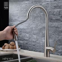 HPB Messing Gebürstet/Chrome Pull Out Deck Montiert Warmen Und Kalten Wasser Küchen-mischbatterie pb-frei Waschbecken wasserhahn torneira cozinha HP4101
