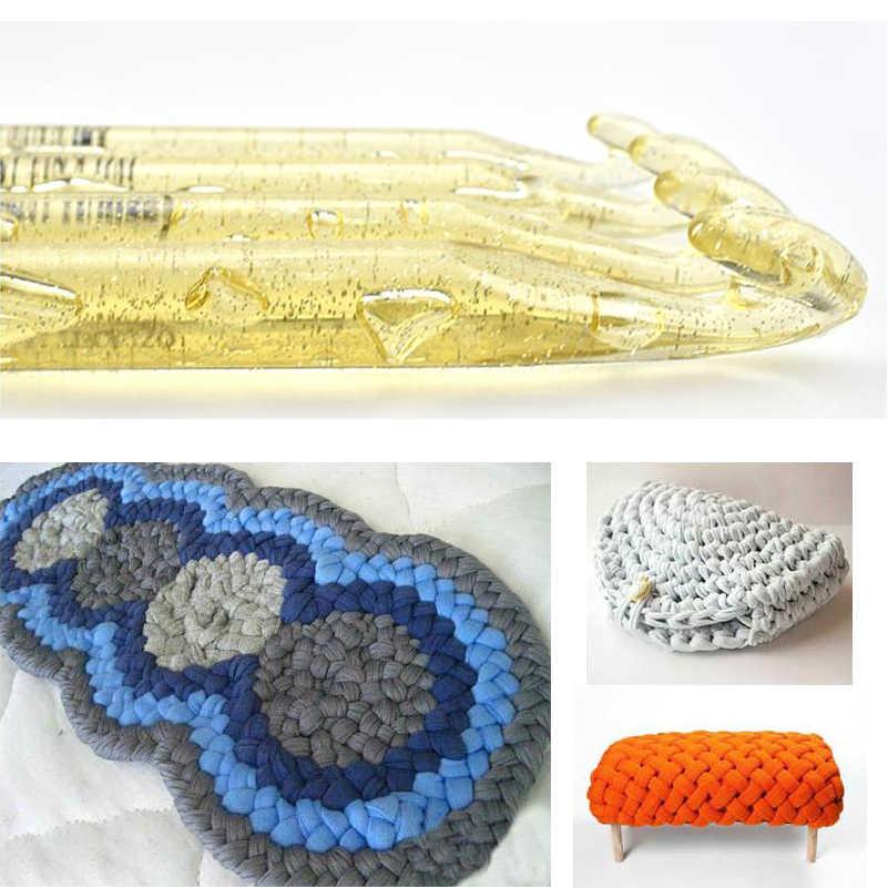 LMDZ 1 Adet Büyük boy Iplik Tığ Kanca Plastik saplı Şeffaf Zanaat Örgü Tığ Hooks Örme Örgü DIY Araçları