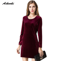 Aikooki 2017 New Long Sleeve Women A Line Velvet Dresses Elegant Spring Autumn Slim Fashion Casual