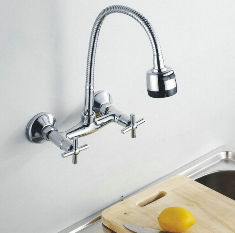 fashion high quality brass material wall mounted chrome hot and cold single lever kitchen sink basin faucet tap mixer high quality single handle brass hot and cold basin sink kitchen faucet mixer tap with two hose kitchen taps torneira cozinha