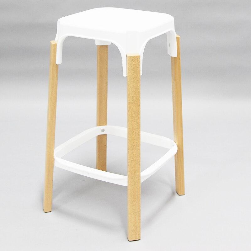 Minimalist Modern Design Steel wood Bar Stool Solid Wooden Leg Metal Base Bar Chair Caft Loft Counter Stool 68cm Seat Height