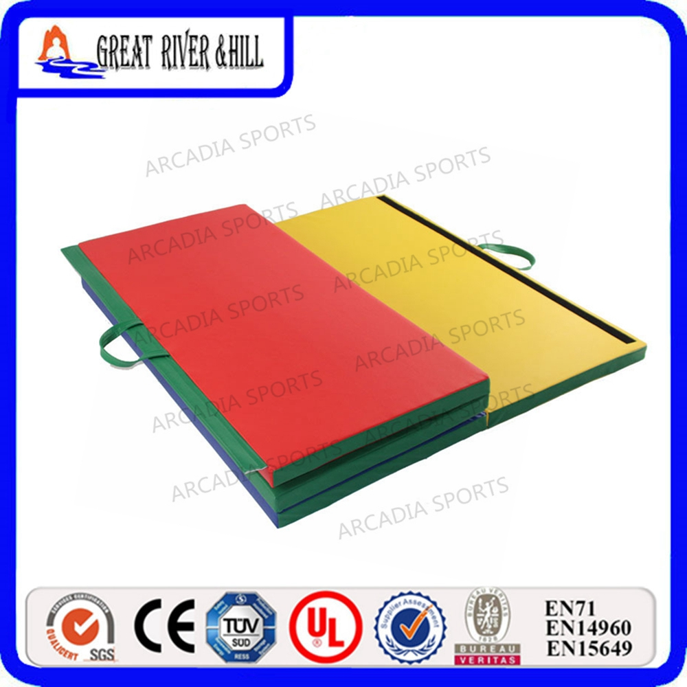 Gymnastics folding mat wholesale colorful mat 2.4mx1.2mx5cm gymnastics mat thick four folding panel fitness exercise 2 4mx1 2mx3cm