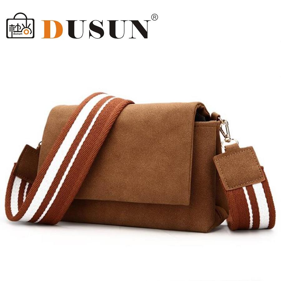 DUSUN Women Wide Strap Fashion Shoulder Bag Nubuck Leather Casual Handbag Vintage Women Messenger Bag Mini Small Flap Crossbody messenger bag