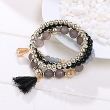 Bohemian Multilayer Beads Crystal Tassel Pendant Bracelet