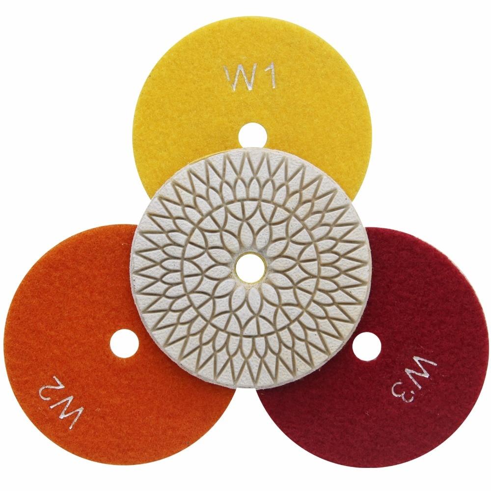 Flexible Wet Polishing Diamond 3 Step Polishing Pads For Stone 3pcs/lot 4 Inch 100mm|Polishing Pads| |  - title=