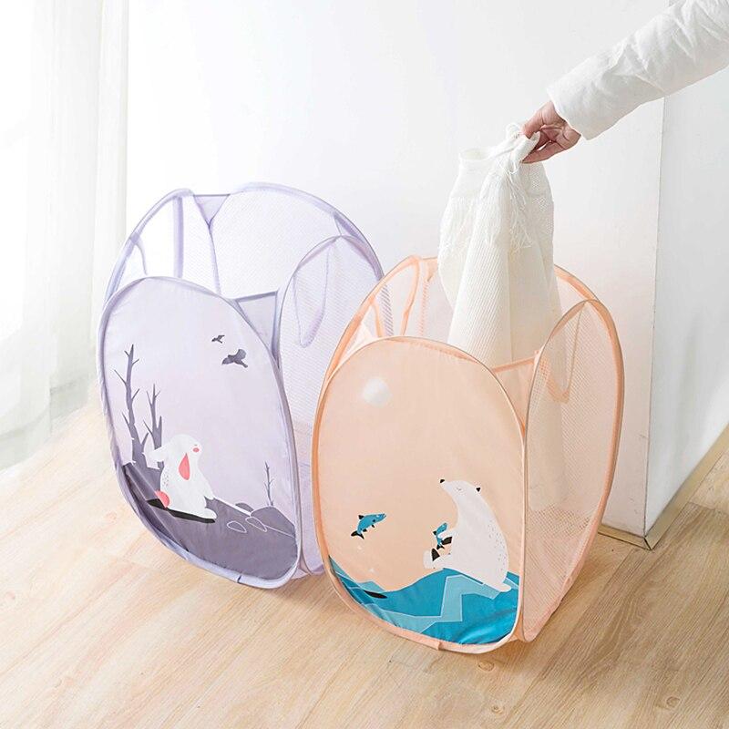 Cartoon Folding Laundry Basket Toy Storage Picnic Basket Box  (9)