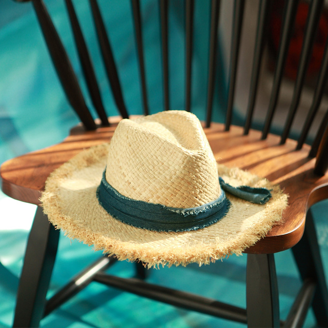 New Panama Raffia Straw Hat For Women Men Western Cowboy Hats With Brim Wide WESTWORD Best Mens Summer Beach Sun Fedora Hat 40