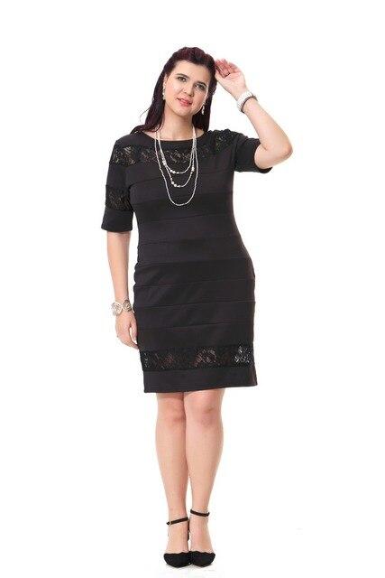 2 Colors Plus Size Vintage Lace Insert Pencil Dresses For Women
