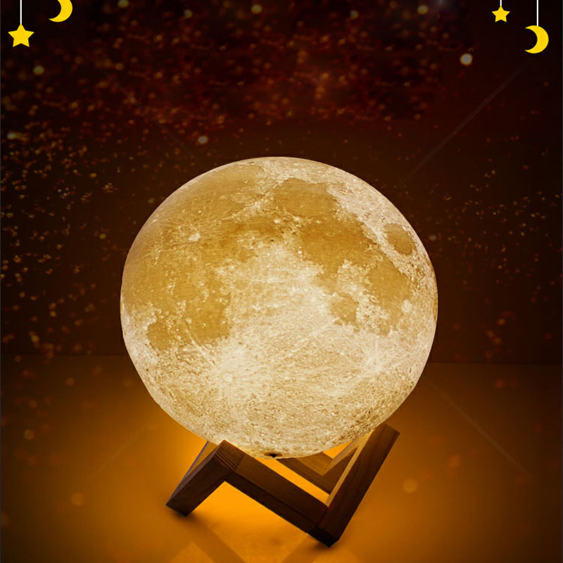 Geoeon Rechargeable Moon Lamp 2 Color Change 3D Light Touch Switch 3D Print Lamp Moon Bookcase Night Light Creative Gifts A501