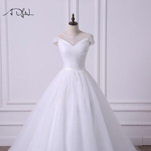 Image 4 - ADLN Einfache Sheer Neck Cap Sleeve Prinzessin Puffy Hochzeit Kleid Robe de Mariee A linie Tüll Weiß/Elfenbein Brautkleid angepasst