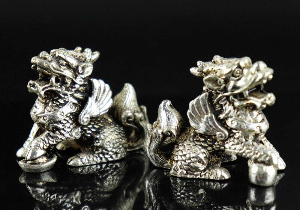 Collectible Tibet-silver Copper Handwork Dragon Antique Ear Spoon Pendant