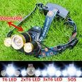 New Headlight 8000Lm 4-Modes XM-L T6 Zoomable Bike 3T6 LED Headlamp Fishing Light 18650 Head light Lamp