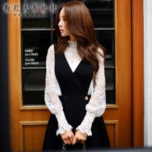 dabuwawa long sleeved shirt female fall 2016 new slim sexy two piece suit fashion retro hollow lace blouses pink doll