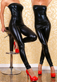 New Arrival Sexy Sleeveless Strapless Bodysuit Faux Leather Jumpsuit Latex Bodysuit