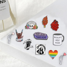 Punk Rock pins grim Reaper Skeleton Heart Love it till die Brooches Badges Bag Enamel pins Gifts For Friends Jewelry wholesale(China)