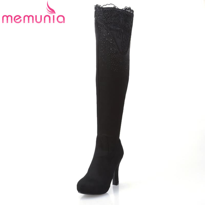 ФОТО MEMUNIA lace sexy thick high heels sheepskin leather over the knee boots for women flower nubuck leather platform winter boots
