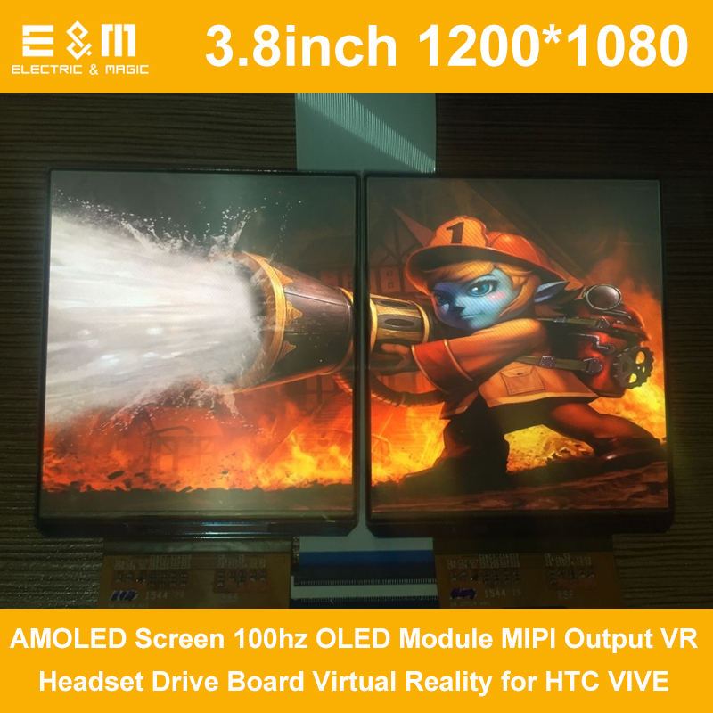 E&M 2Pcs 3.8 Inch 1200*1080 AMOLED Screen 100hz OLED Module MIPI Output VR Headset Drive Board Virtual Reality For HTC VIVE