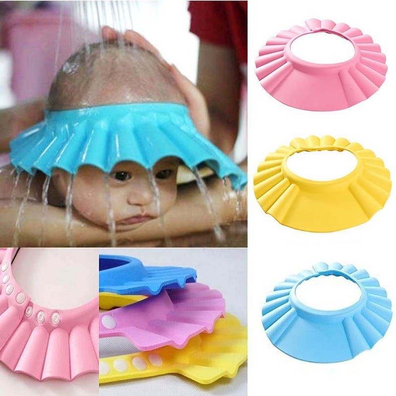2Pcs Soft Baby Kids Children Shampoo Bath Shower Cap Adjustable Baby Shower Hat Baby Shampoo Cap Wash Hair Shield