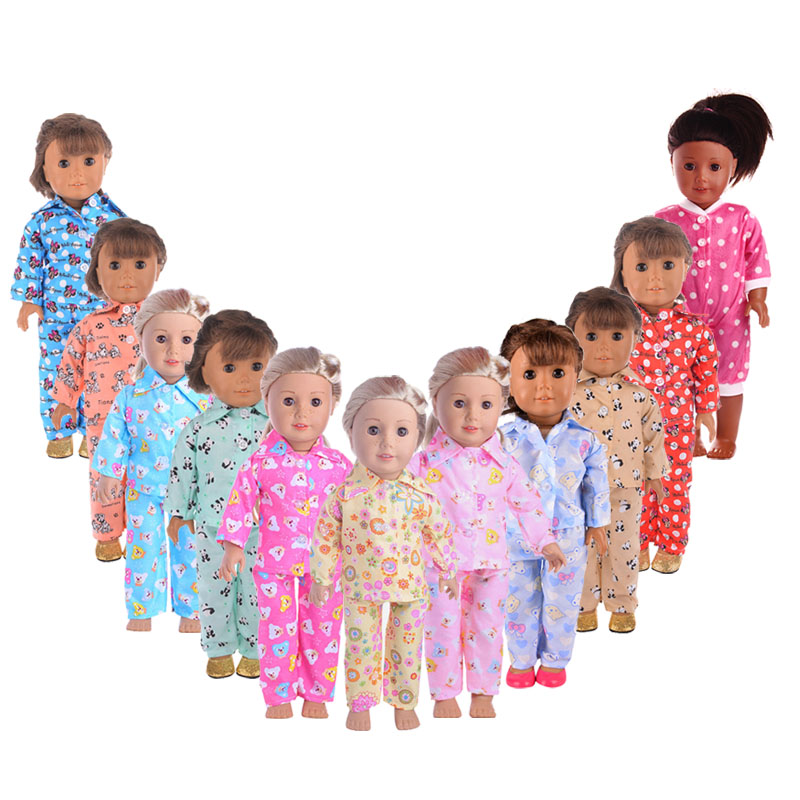Fleta Cartoon Pajamas For 18 inch American Doll or 43 cm Baby Doll the Best Birthday Gift Toy accessories(Only clothes)