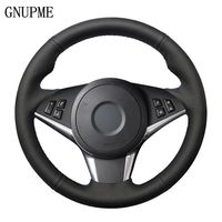 GNUPME BMW E60 530d 545i 550i E61 투어링 2005-2009 E63 E64 63 용 블랙 핸드 스티치 인공 가죽 핸들 커버