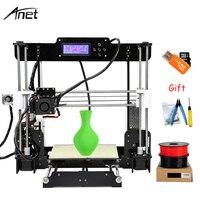 Anet A8 Autol Leveling Impresora 3D Printer DIY Kit Imprimante 3D Printers Aluminum Heated Support Off line Gift 10m Filament