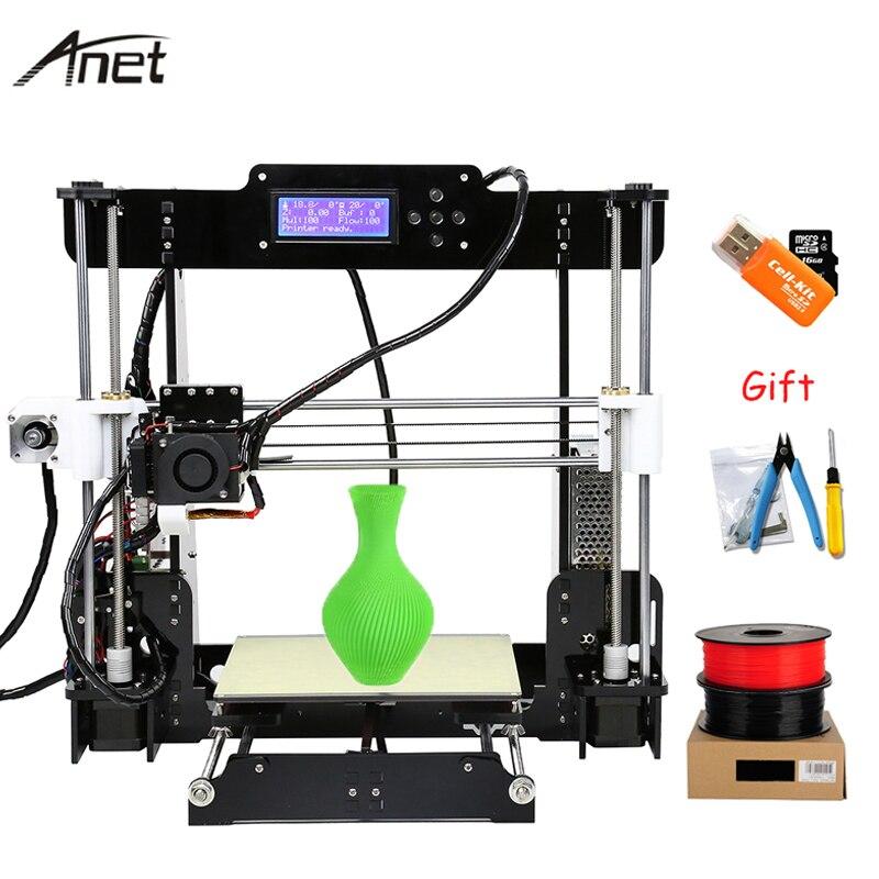 Anet A8 Autol Nivellement Impresora 3D Imprimante BRICOLAGE Kit Imprimante 3D Imprimantes Chauffante En Aluminium Support Hors-ligne Cadeau 10 m Filament